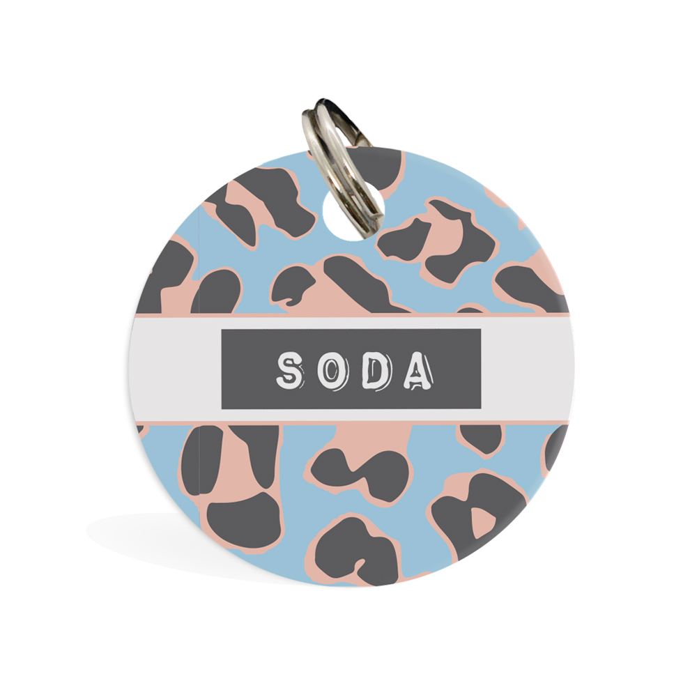 ID Tag Round - Jungle Vibes in Pink or Blue