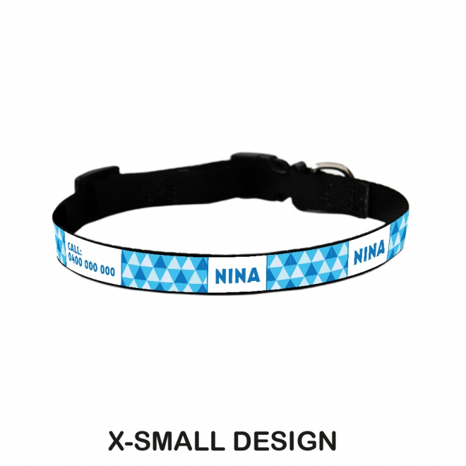 Dog Collar - Triangles Blue